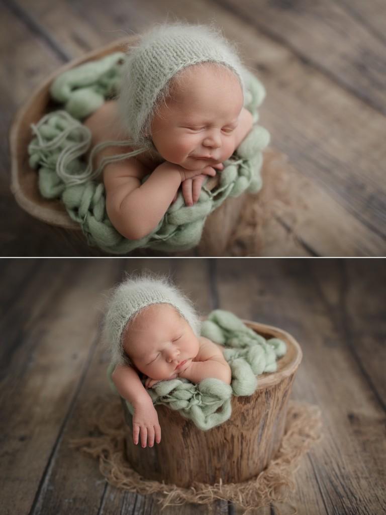 Focení miminka v pařezu