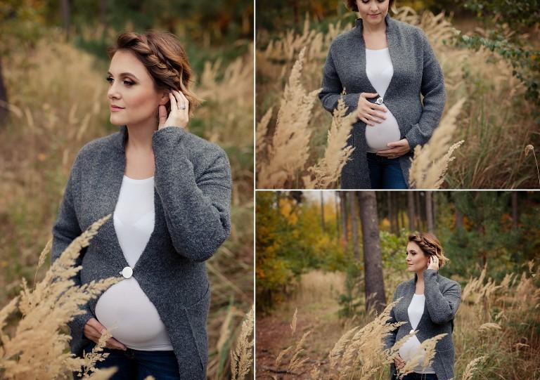 Focení těhotné maminky v podzimním lese